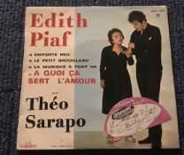Edith Piaf signed label dated 1962 fixed to front of 45rpm record sleeve for A Quoi Ca Sert L'Amour.