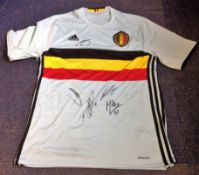 Football Belgium multi signed shirt includes 5 fantastic signatures Eden Hazard , Kevin De Bruyne,