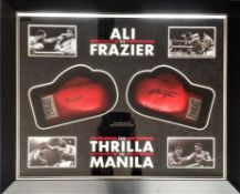 Boxing Thrilla in Manila Muhammad Ali and Joe Frazier 41x35 mounted and framed pair of Everlast
