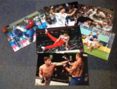 Sport collection 6 assorted colour photos from various sports signatures include Steve Thompson (