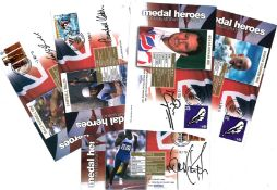Great Britain medal heroes FDC signed collection, 5 covers in total, Signed by Sally Gunnell, Duncan