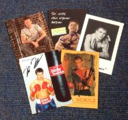 Boxing collection 5 signed colour promo photos from some great champions from around Europe names