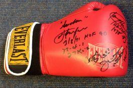 Boxing Legends Joe Frazier, Ken Norton, Larry Holmes and Earnie Shavers multi signed Everlast boxing