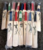 Cricket collection 15 The Art of Sport mini cricket bats each portraying an illustration of a famous