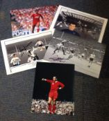 Football legends collection 5 superb, signed photos from some great names such as Ian St John, Geoff