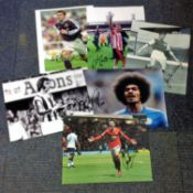 Football collection 6 signed assorted photos from some well-known names past and present includes