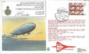 Wg Cdr Bert Evenden signed RAF FF4 FDC. 60th Anniversary of the First Airship Crossing of the