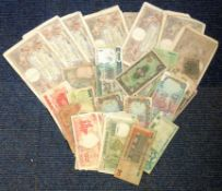 Worldwide vintage banknote collection includes over 50+ notes from countries such as France,