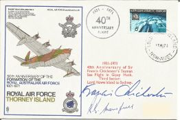 Sir Francis Chichester and pilot Keith Mansfield signed 1971 RAF cover RAF Thorney Island. Comm.