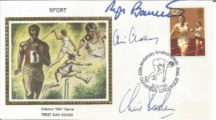 Sport Four minute mile team multiple signed 1980 sport Colorano silk FDC. Signed by Roger Bannister,