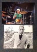 Charlie Watts signed photo collection. 2 in total. Both have had dedications removed. All autographs