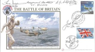 Battle of Britain multiple signed Internetstamps FDC 2004. signed by Five BOB and RAF fighter pilots