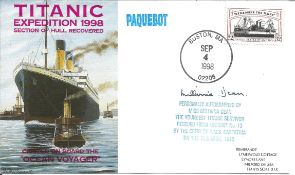 Titanic survivor Millvina Dean signed 1998 Titanic Expedition Paquebot cover with US stamp and