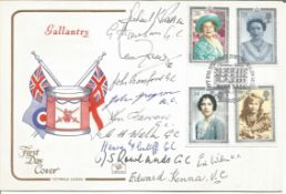 Victoria and George Cross multisigned cover. 1990 Gallantry cover signed by Ian Fraser VC, Edward