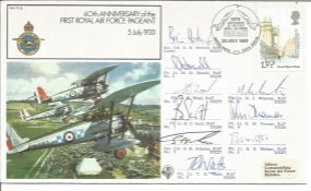 Red Arrows Display team signed 1980 RAF Pageant cover flown by Red Arrows in fly past over London.