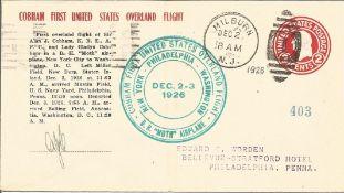 Alan Cobham aviation pioneer signed 1926 cover flown on Philadelphia leg of the 1st US Overland