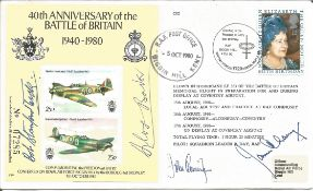 40th anniversary of the Battle of Britain cover signed by FOUR of the most well-known RAF fighter