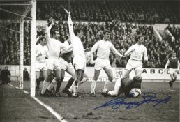 Garry Sprake Leeds Utd football signed 10 x 8 inch b/w action photo making another save. All