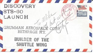 Franklin Chong Diaz signed Discovery STS-60 Launch cover. All autographs come with a Certificate