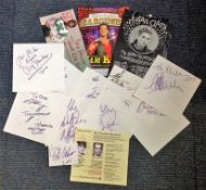 TV/Music signed collection. Various pieces including signed cards, flyers and covers. 14 items in