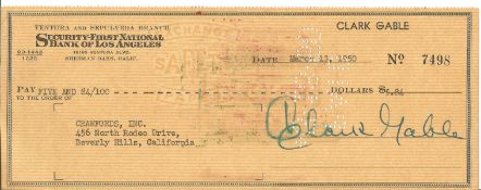 Clark Gable signed 1950 bank cheque, $5.84 to Crawfords Inc. Security First National Bank