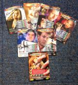 Dr Who signed trading card collection. Seven cards signed inc Harry Peacock, Caroline Berry