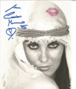 James Bond Caroline Munro signed 10 x 8 inch b/w photo with added pink Lipstick Kiss to top RH side.