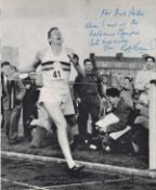 Sir Roger Bannister signed 16 x 12 b/w page of him crossing 4 min mile finishing line