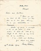 Prime Minister Stanley Baldwin hand written letter 1924, 10 days before the election