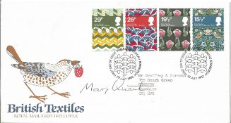 Mary Quant fashion designer signed 1982 Textiles FDC with neat, typed address. Condition 7/10.
