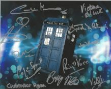 Dr Who 10x8 inch multi signed Tardis colour photo signed by 12 stars from the iconic show