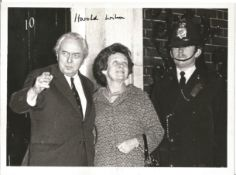 Harold Wilson signed 8 x 6 inch b/w photo on steps of 10 Downing Street with his wife