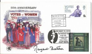 Margaret Thatcher signed 1968 50th ann Votes for Women cover, doubled in 1999 with Votes for Women