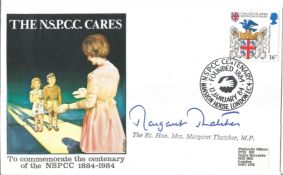 Margaret Thatcher signed 1984 NSPCC comm cover.