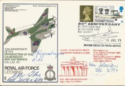 WW2 Luftwaffe aces multiple signed cover. Friedrich Guggenberger, Otto Ites and Hans Lehman signed
