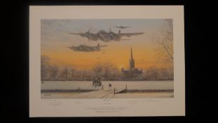 Philip E West Path Finder Force Artist Proof signed by 3 distinguished RAF WW2 Mosquito aircrew.