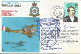 Erich Hartmann with one other signed No.27 Squadron RAF Reformation of the Sqn 1st March 1974 cover.