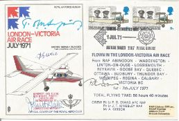 Tom Sopwith, Flt Lt P. R. Evans with two other signed London - Victoria Air Race July 1971 cover NO.