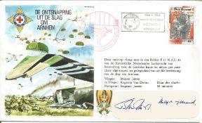 Mjr Gen John Frost signed label on Escape From Arnhem 40th Anniversary cover. Flown in Fokker F.27