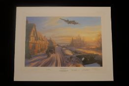Nicolas Trudgian A Welcome at the Inn signed by four USAAF B-17 bomber pilots who flew with the