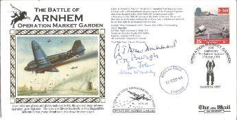 Arnhem WW2 veterans multiple signed cover. John Waddy, Ian John, P. Burgh and G.T. Drummond signed