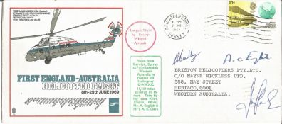 First England - Australia Helicopter Flight 8th-29th June 1969 cover. Rare RAF cover A.C. English,