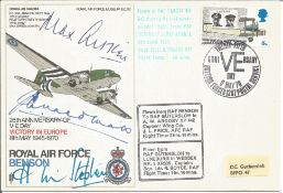 WW2 ace Max Aitken, Huw Stephen signed RAF Benson 25th Anniversary of V-E Day Victory in Europe