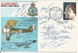 Great War fighter aces multiple signed cover. Eight inc WW2 Alan Deere, WW1 Grp Capt Livock, L H