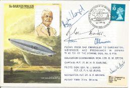 Neville Duke, Douglas Bader, Sqn Ldr M.J. Baker, Hugh Lloyd and one other signed Sir Barnes Wallis
