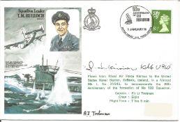 WW2 Uboat Commander Gunther Heinrich Cmdr U960 and Flt Lt A.J. Trotman signed Sqn Ldr T.M. Bulloch