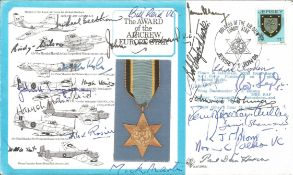 22 W2 bomber and fighter aces signed cover. Dambuster Mick Martin, Leonard Cheshire VC, Sir