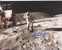Space Astronaut Charlie Duke signed 10x8 colour photo. All autographs come with a Certificate of