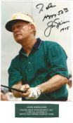Jack Nicklaus signed colour photo. Dedicated. All autographs come with a Certificate of