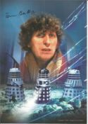 Tom Baker signed 12x8 colour montage photo from Dr Who. All autographs come with a Certificate of